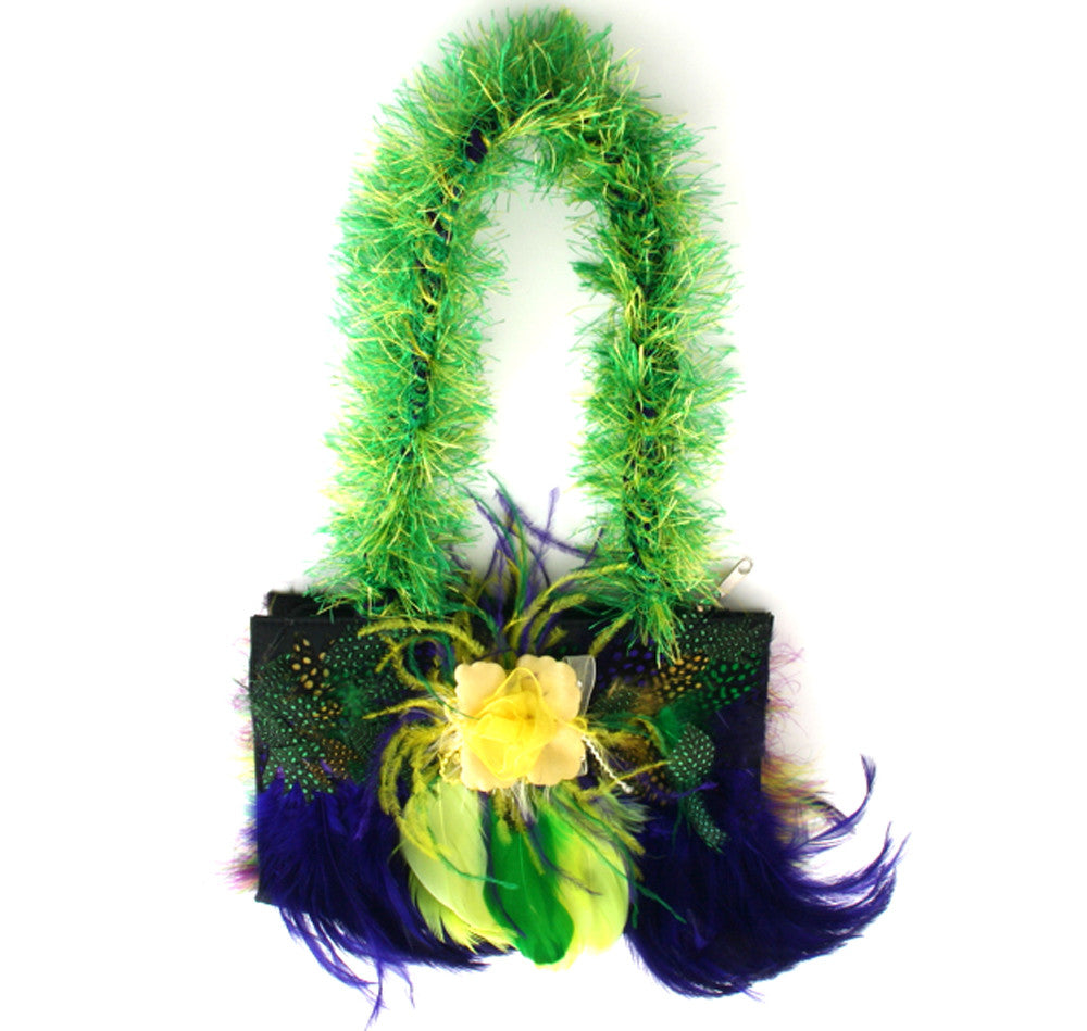 Mardi Gras Feather Purse