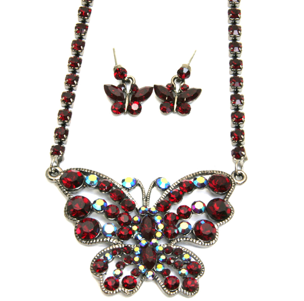 Butterfly Necklace Set Ruby
