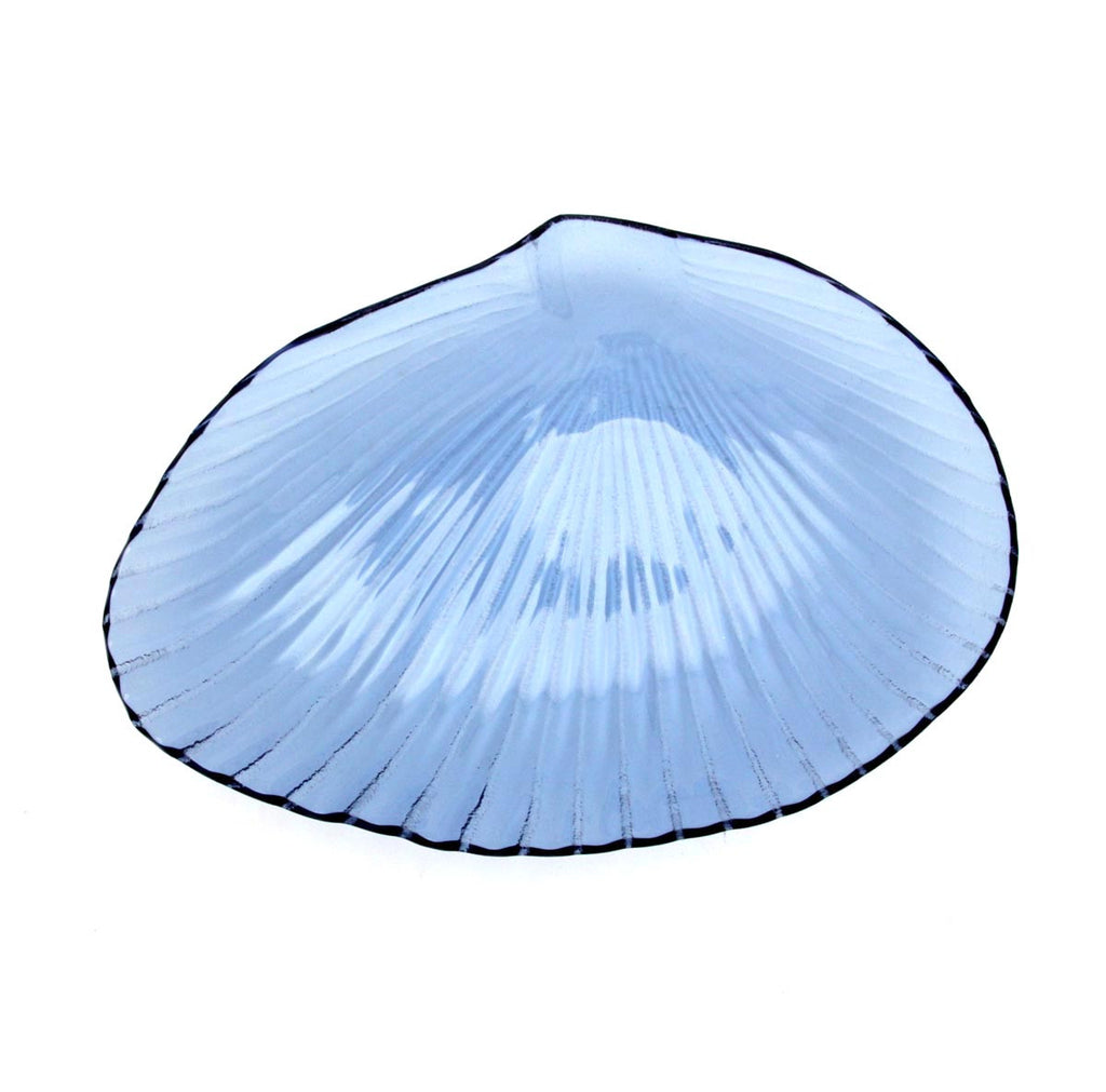 Blue Seashell Glass Plate Medium