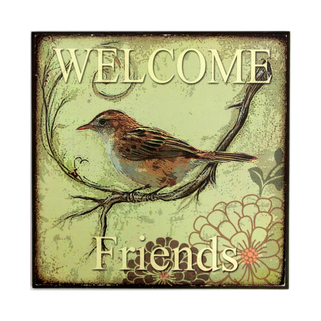 Bird Wall Plaque Welcome Friends