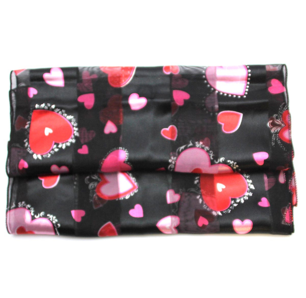 Valentines Scarf Black with Hearts