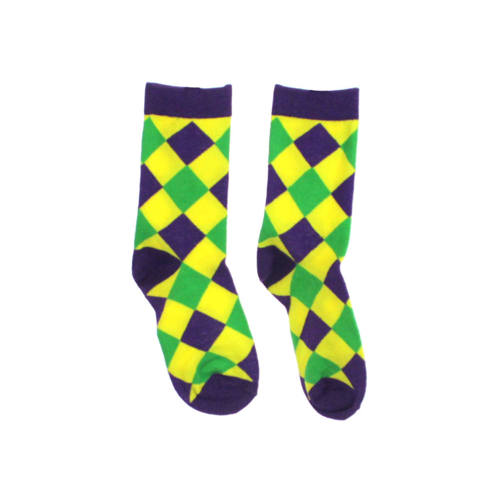 Mardi Gras Diamond Pattern Socks