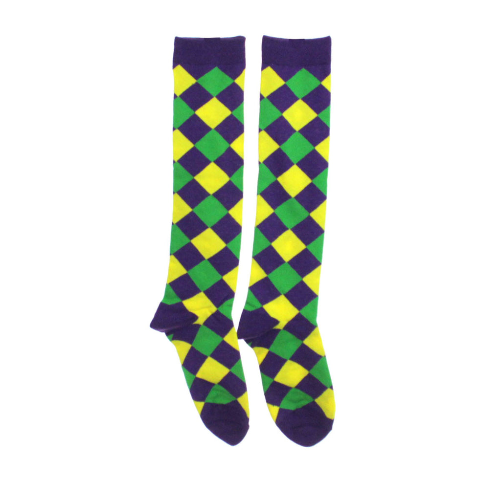 Mardi Gras Diamond Pattern Knee Socks