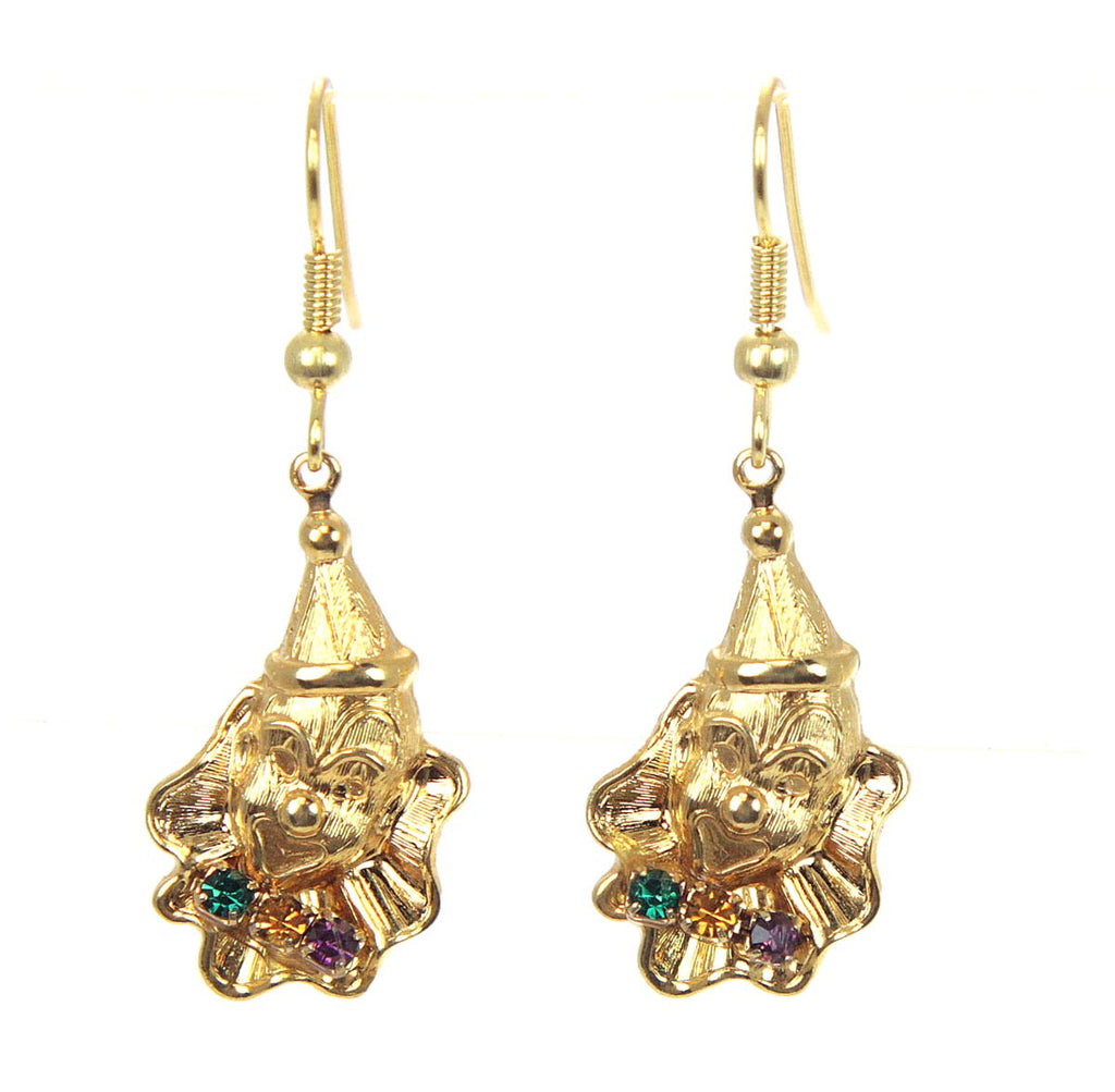 Clown Earrings Gold