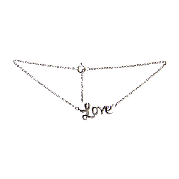 Sterling Silver Chain Love Ankle Bracelet 10""