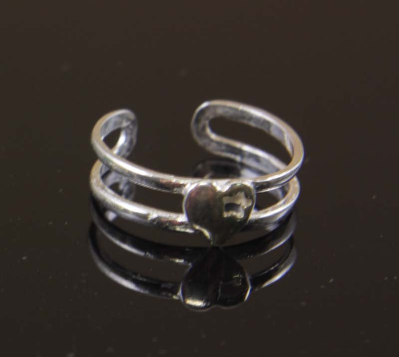 Sterling Silver Heart with Star Toe Ring