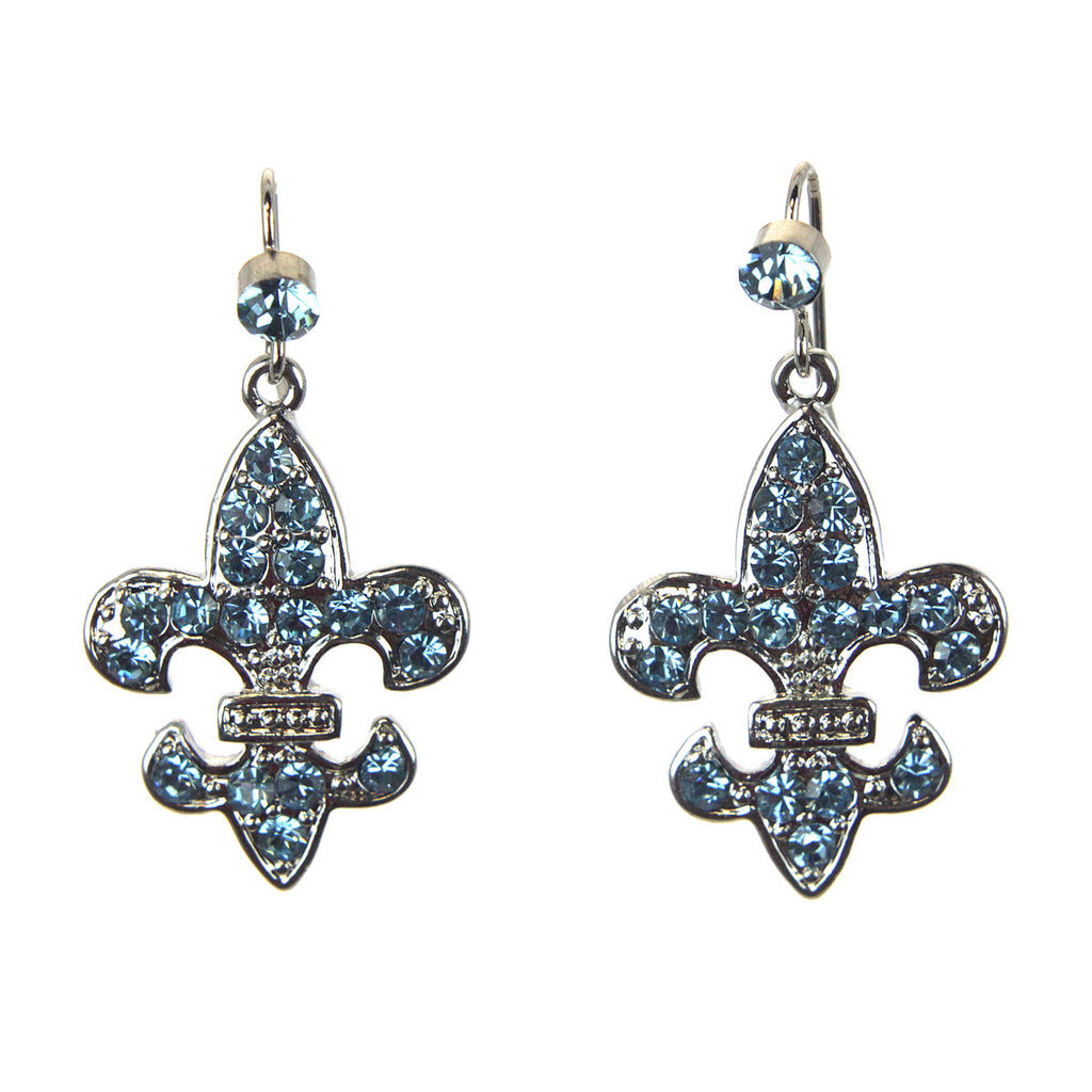 Fleur De Lis Earrings Aquamarine