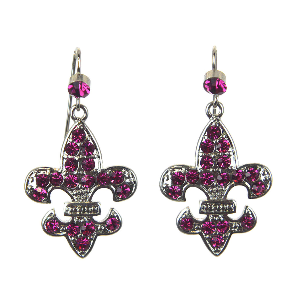 Fleur De Lis Earrings Fuchsia