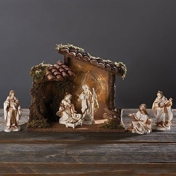 Fontanini 6pc Nativity Set w/Musical Stable Backdrop