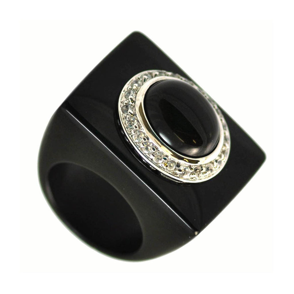 Black Jade Cabochon Ring Size 9.5