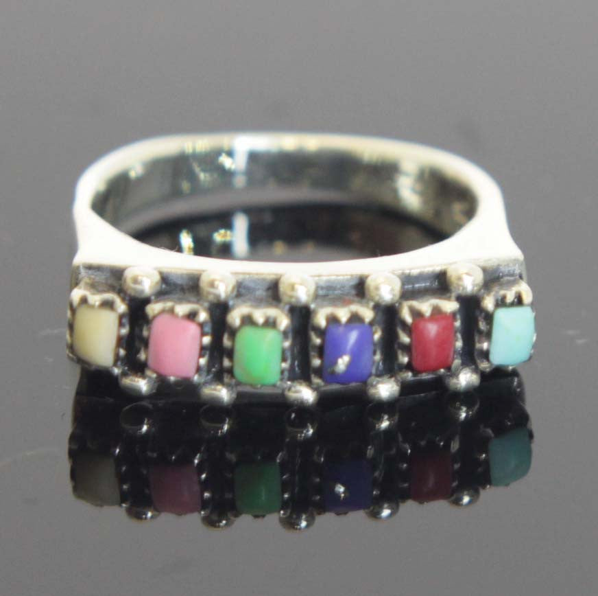 Sterling Silver Multicolor Ring Size 6
