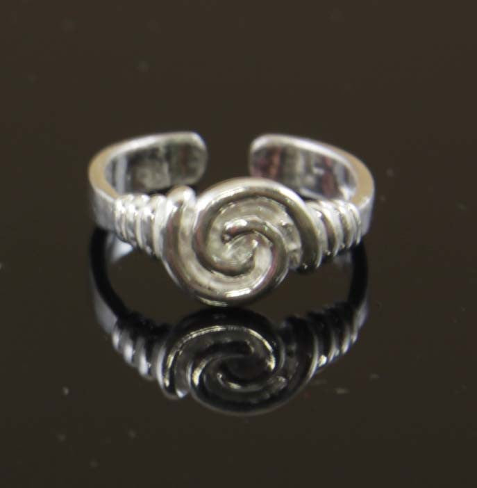 Sterling Silver Round Twirl Toe Ring