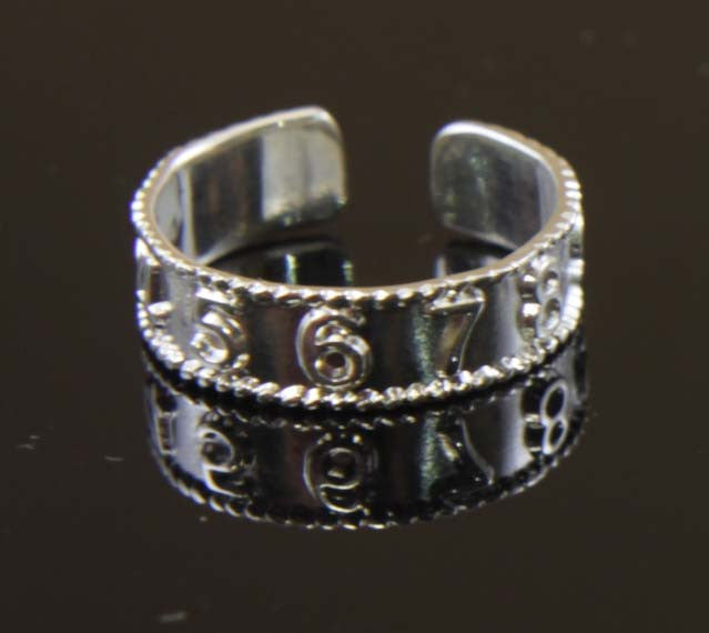 Sterling Silver Numbers 1-10 Toe Ring
