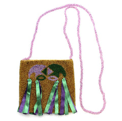 Jester Mask Bag Beaded Gold
