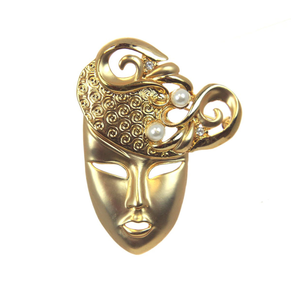 Lady Face Pin with Pearls Gold