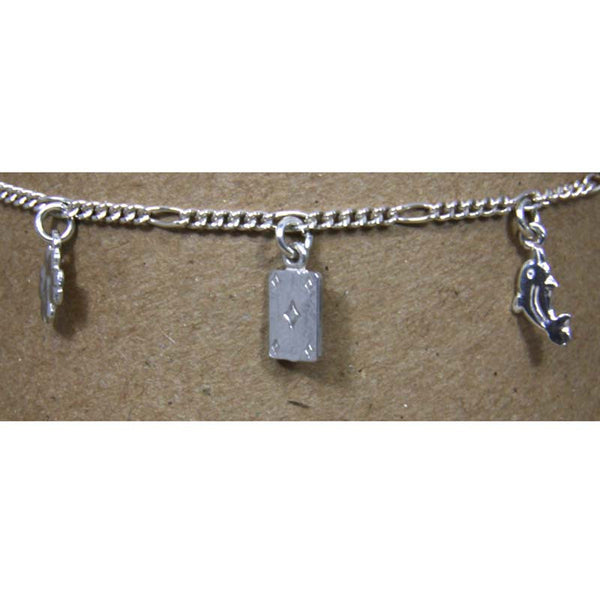 Sterling Silver Chain w/Charms Ankle Bracelet 10""