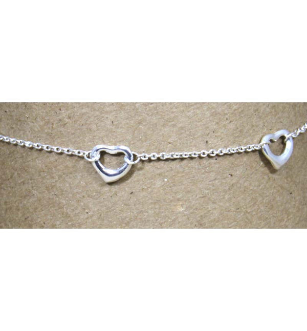 Sterling Silver Chain Five 15mm Hearts Ankle Bracelet 10""