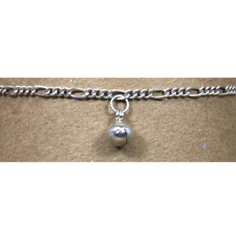 "Sterling Silver Figaro Chain w/Bell Ankle Bracelet adjustable 9"" to 10"""