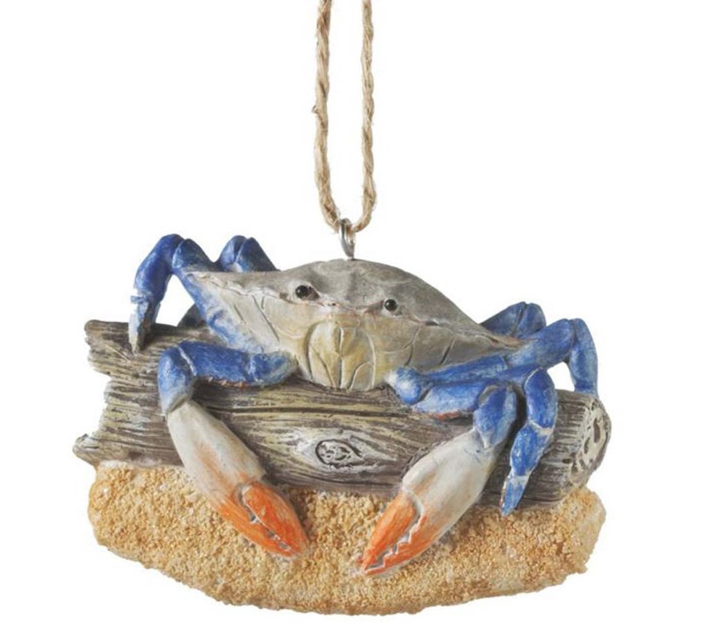 Blue Crab on Driftwood Ornament