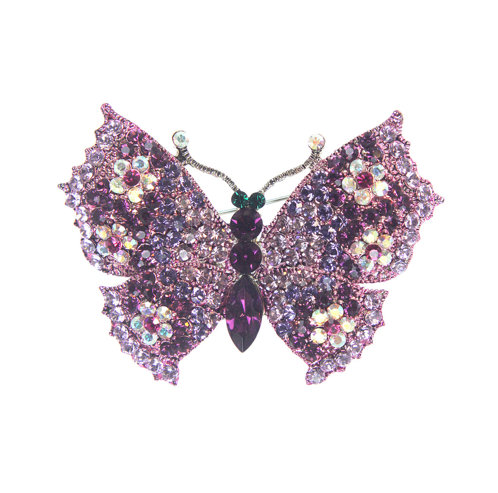 Floral Butterfly Pin, Purple