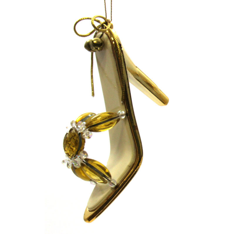 Shoe Ornament Gold Square Bead