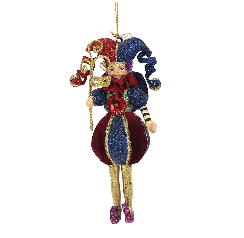 Jester Ornament , Red & Blue
