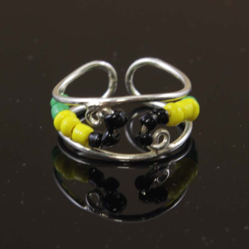 Sterling Silver Seed Beads Black, Yellow, Green Toe Ring