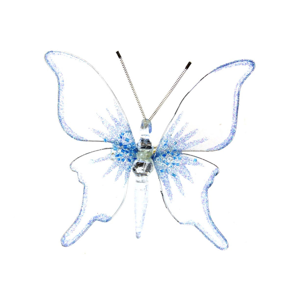 Butterfly Clip Ornament Light Blue