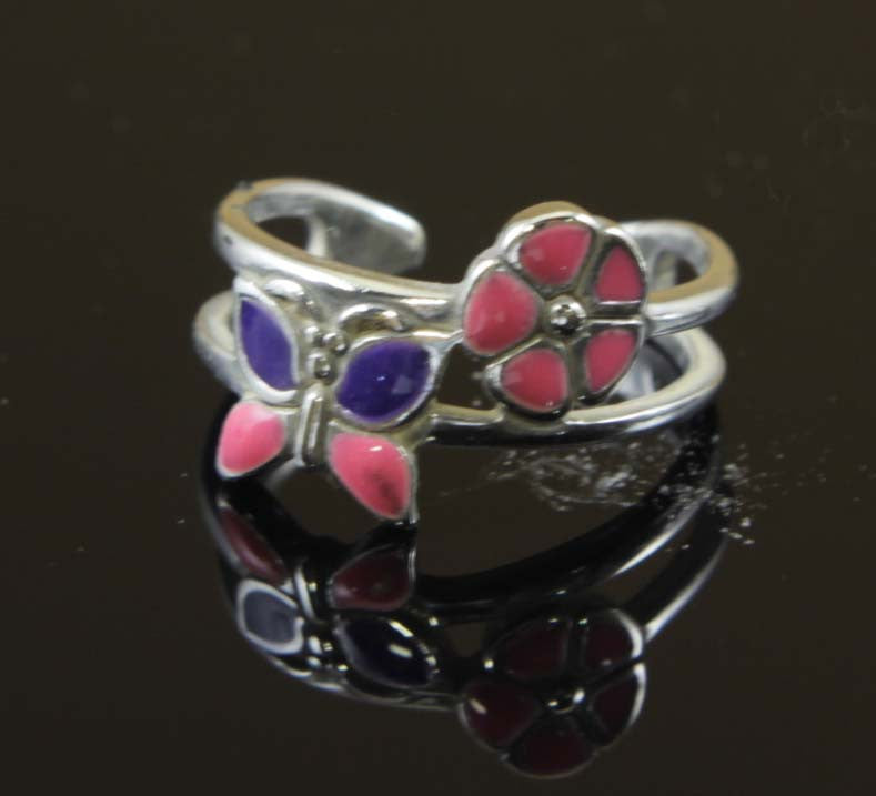 Sterling Silver Butterfly Flower Toe Ring
