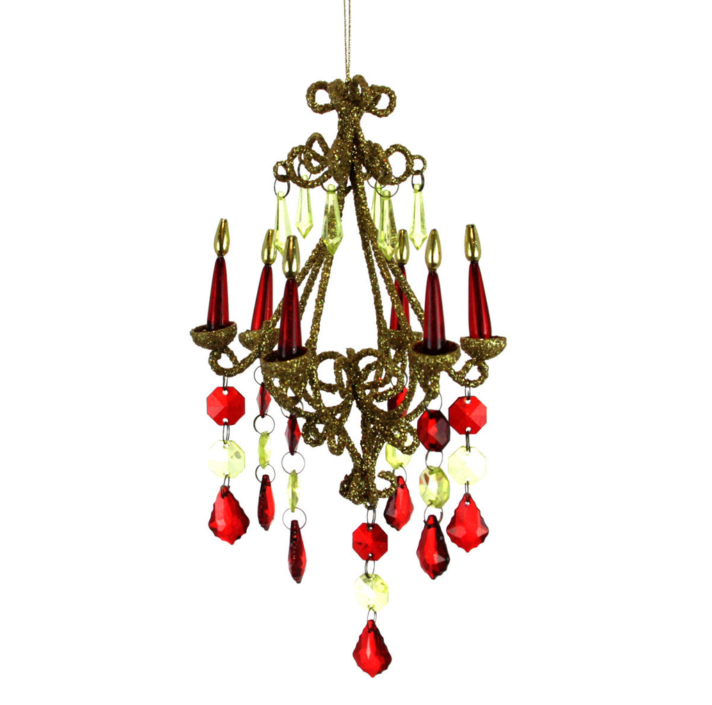 Chandelier Gold/Red Ornament