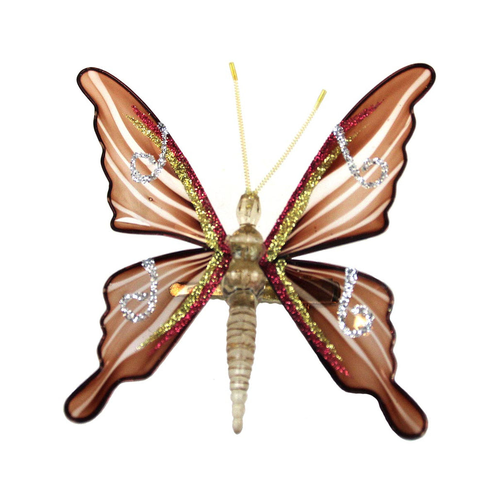 Butterfly Clip Ornament Brown