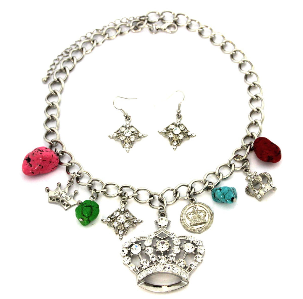 Crown Charm Necklace & Earrings