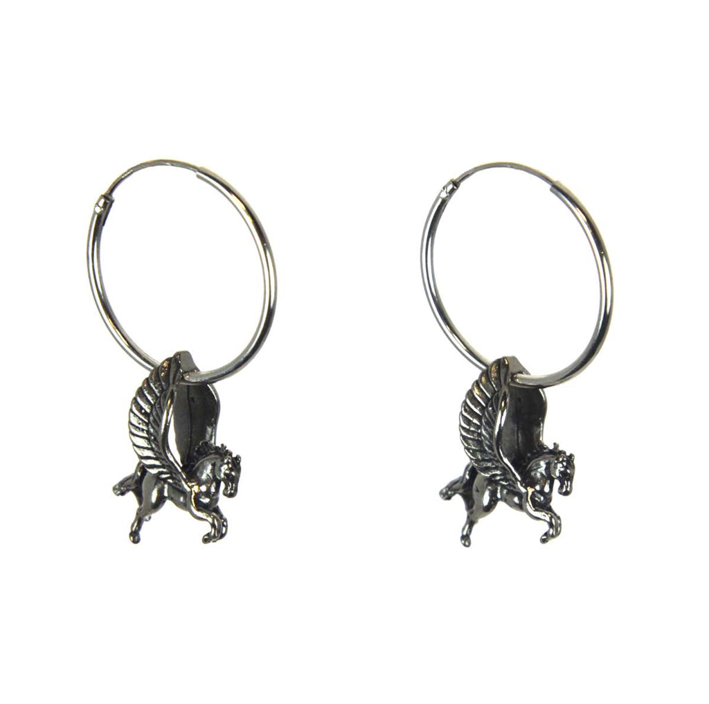 Pegasus Hoop Earrings Sterling Silver