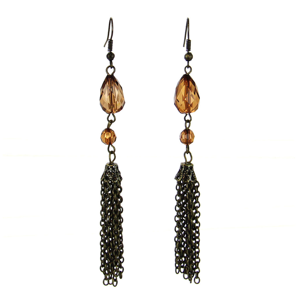 Beaded Tassel Drop Earrings-Brown
