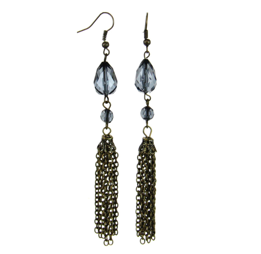 Beaded Tassel Drop Earrings-Blue