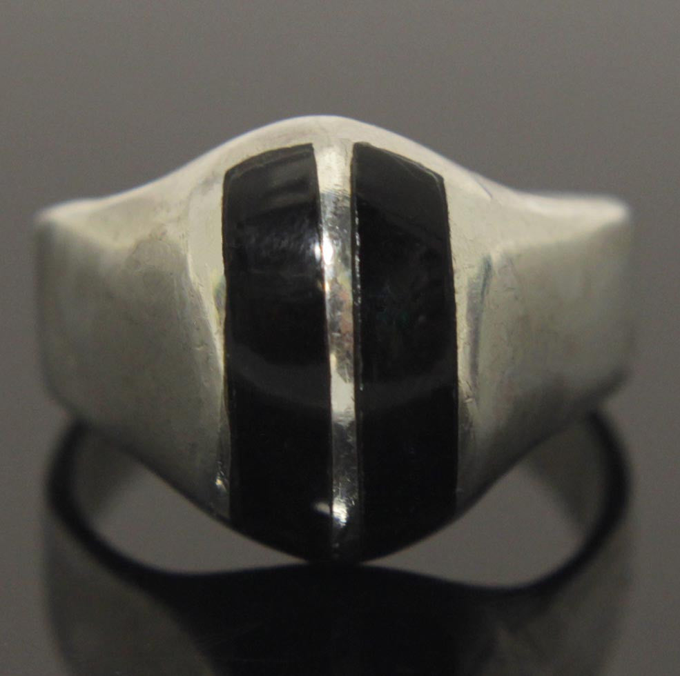Sterling Silver Onyx Ring Size 11.5