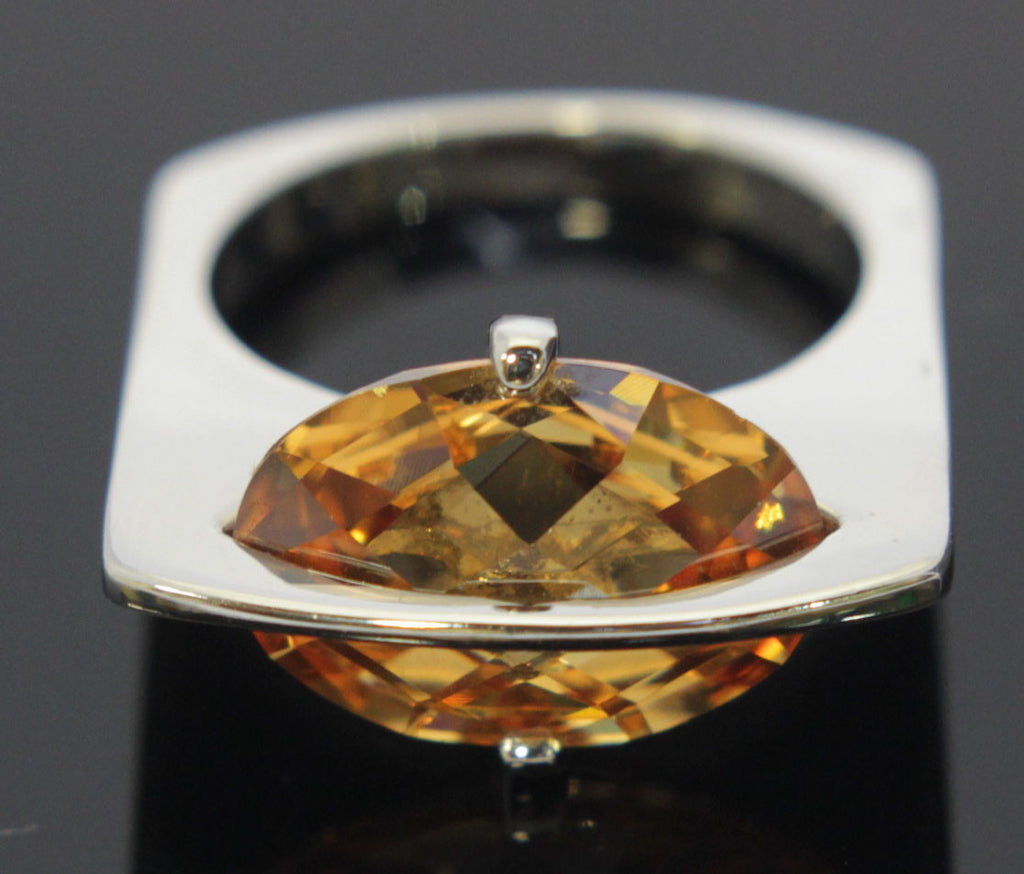 Plated Topaz Zirconia Ring Size 5.5
