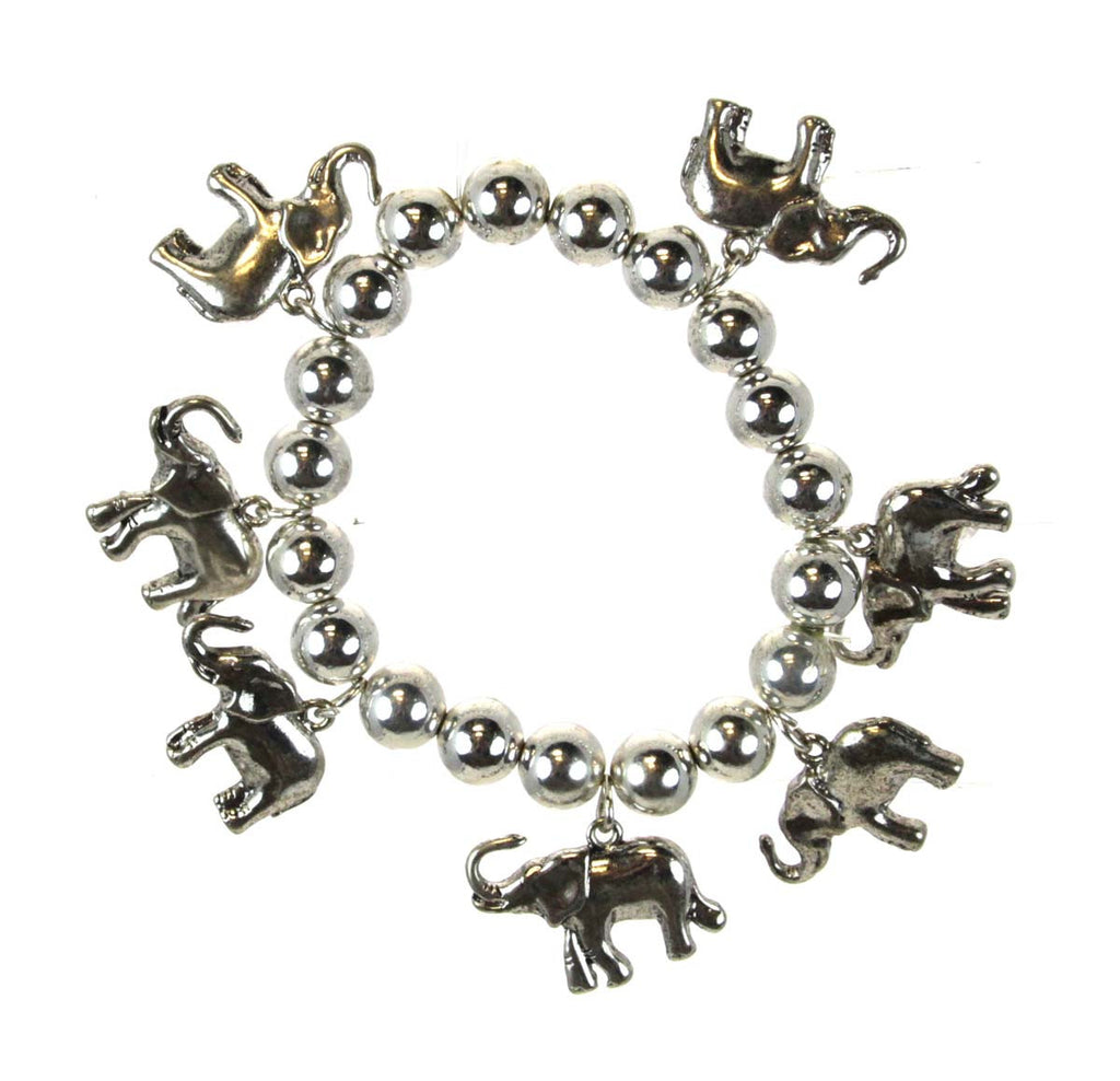 Elephant Beaded Stretch Bracelet silver