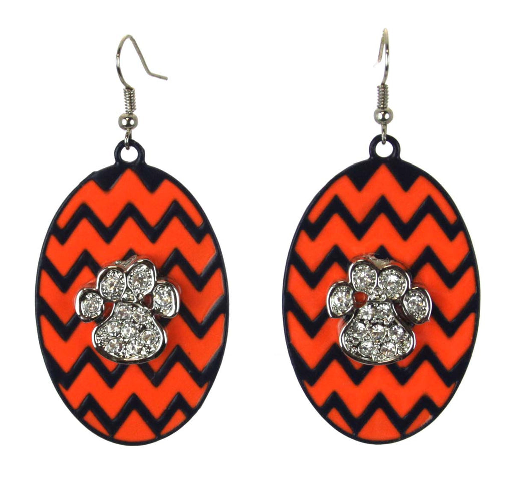 Chevron Oval Earrings with Tiger Paw