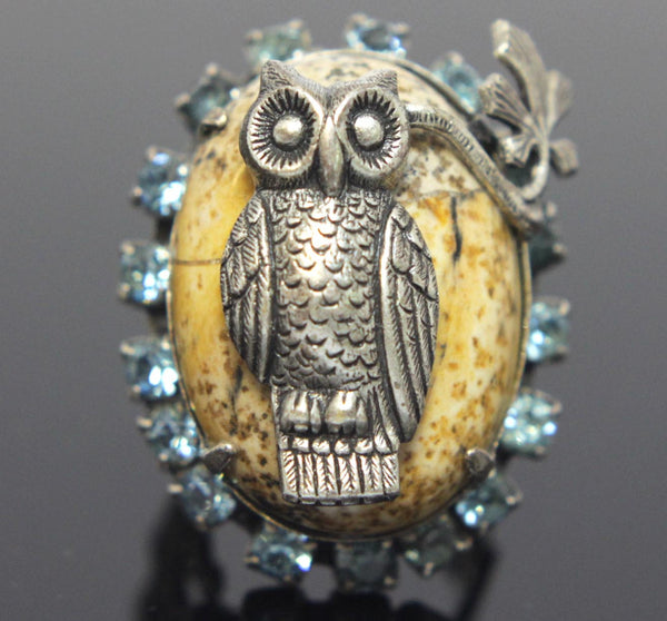 Owl Ring Pewter