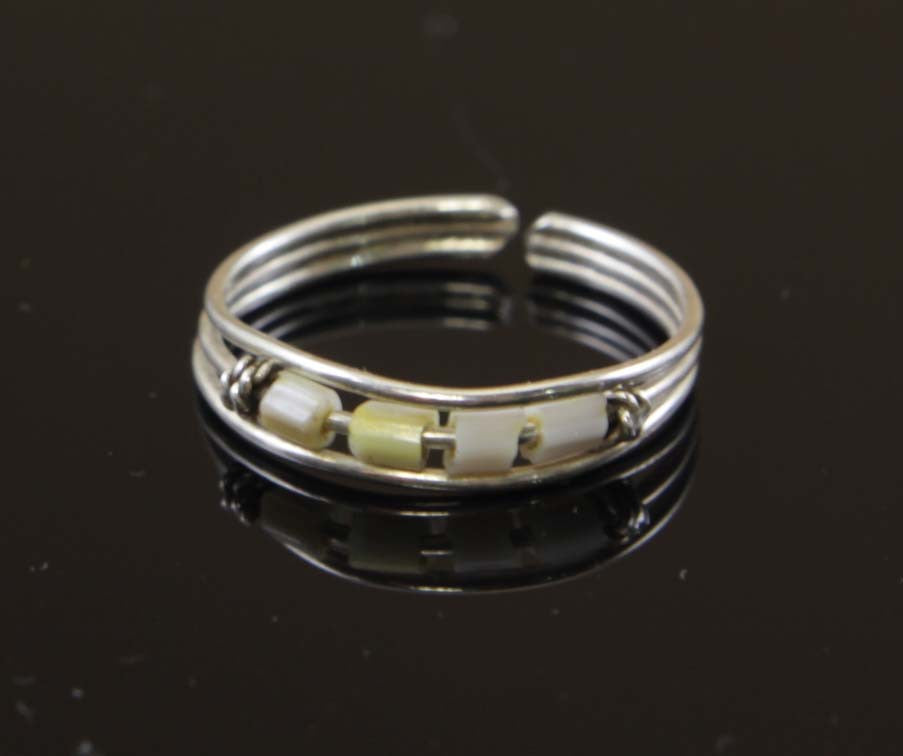 Sterling Silver Ivory Beads Toe Ring