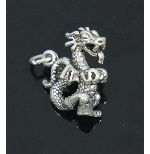 Dragon with Wings Charm, Sterling Silver