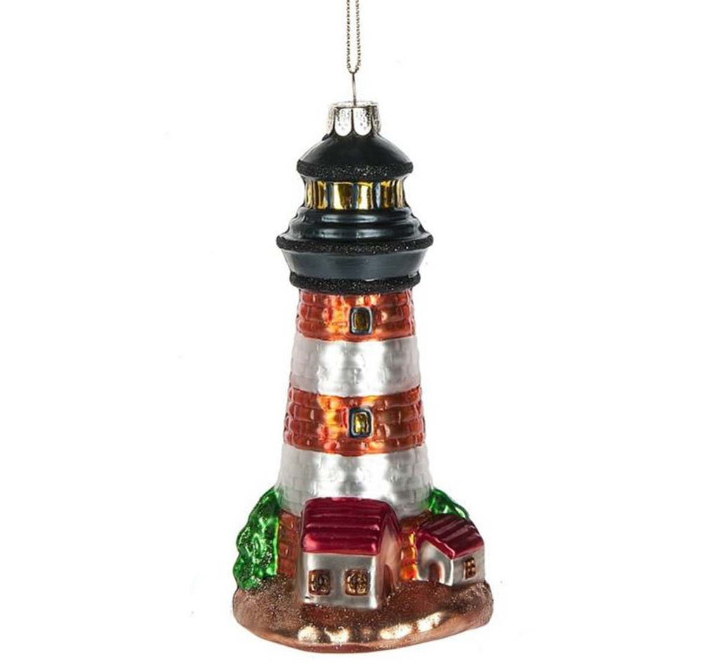 Light House Glass Ornament Black