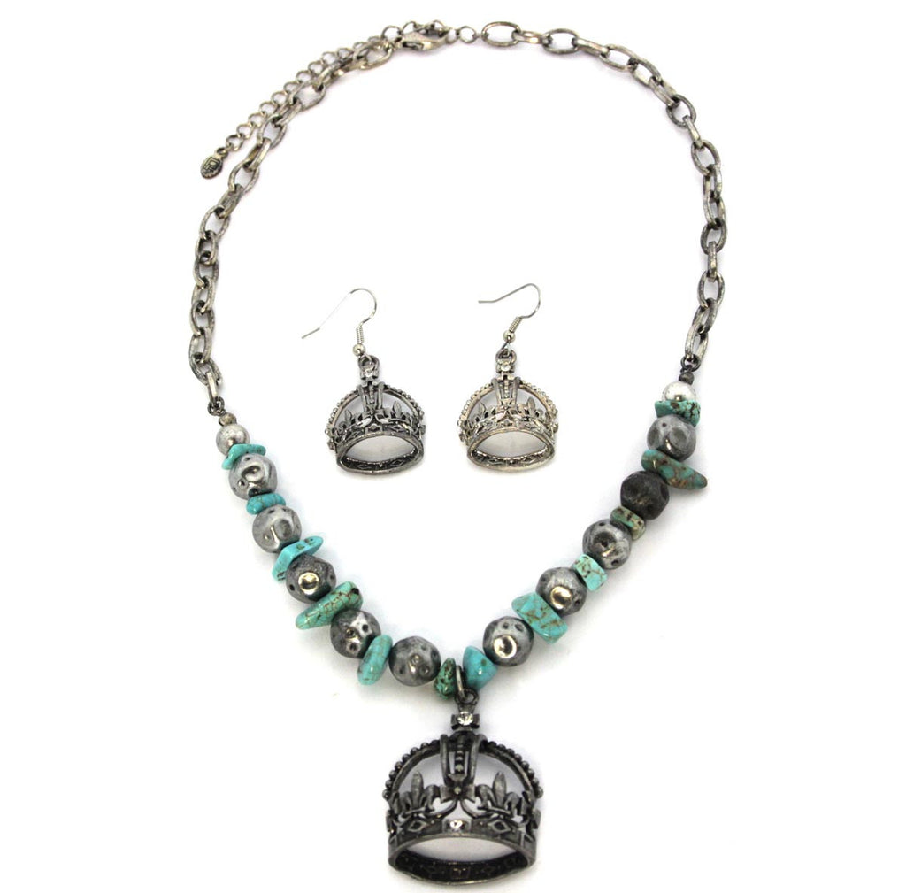 Crown Necklace & Earrings Turquoise
