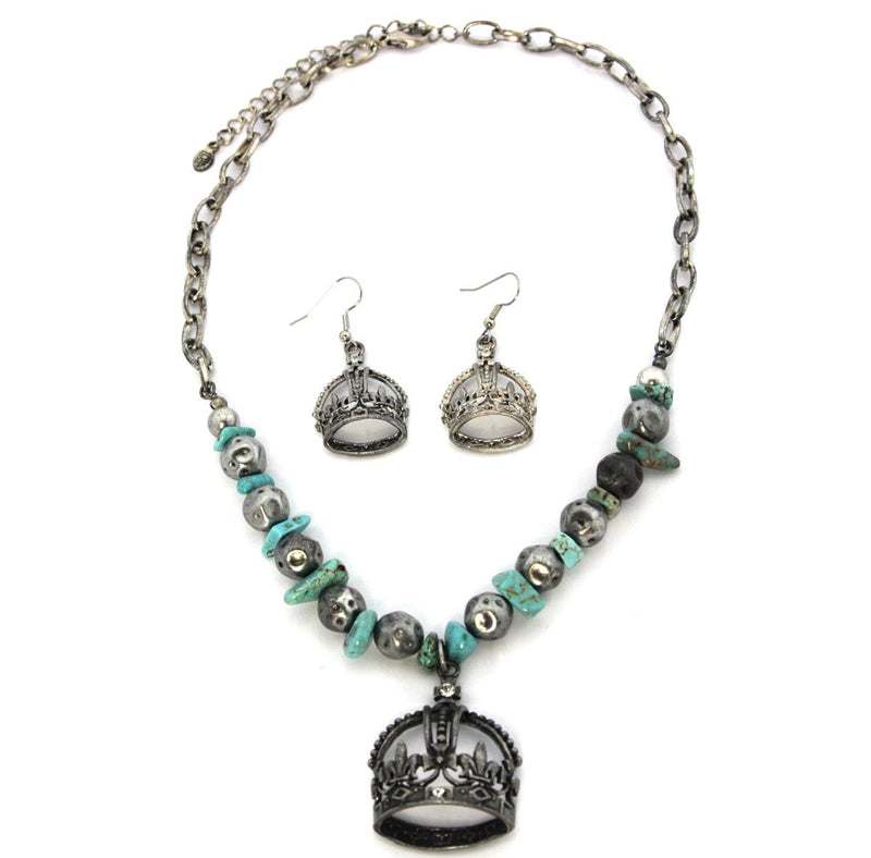 Crown Necklace & Earrings Set,Turquoise