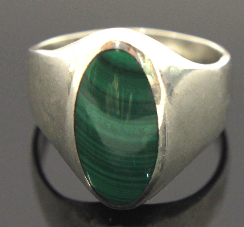 Sterling Silver Malachite Ring Size 13.5