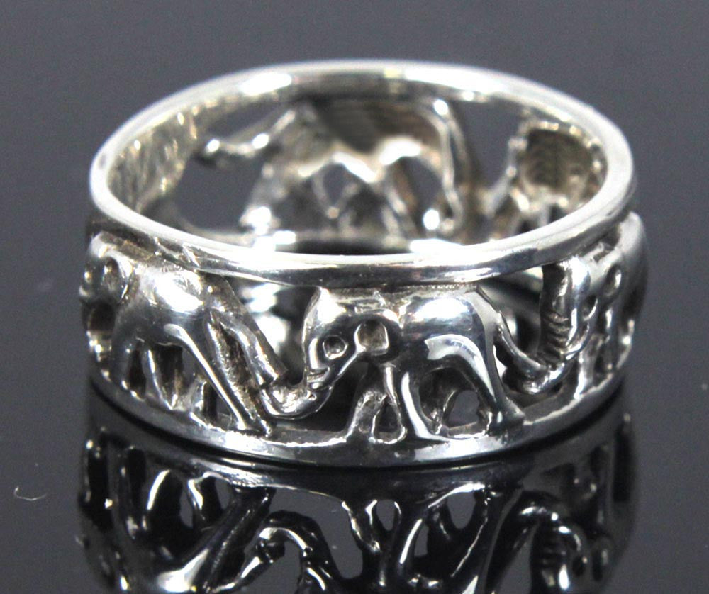 Elephant Ring Sterling Silver Size 9