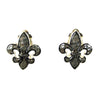 Fleur De Lis Clip Earrings Silver