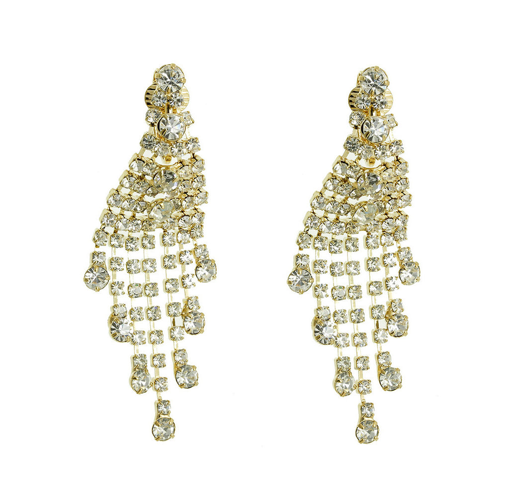Rhinestone Chandelier Earrings Clip Gold
