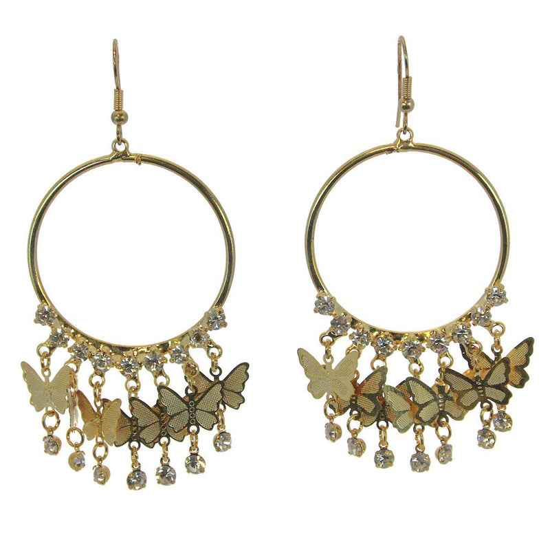 Butterfly Hoop Earrings, Gold